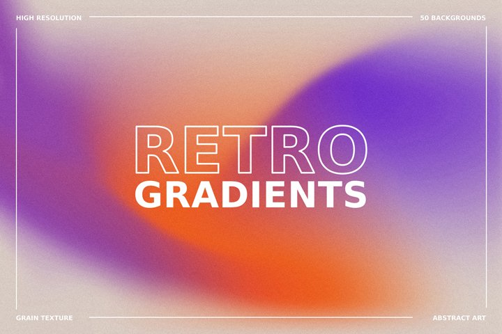 1970s Retro Gradient Backgrounds Set