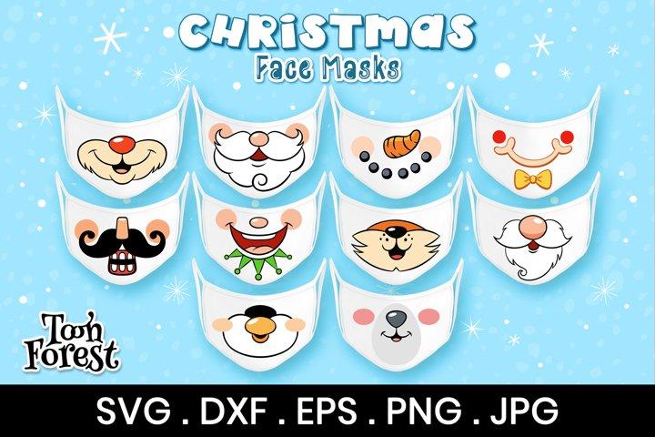 Christmas Masks SVG, DXF, EPS, and Png Cut Files Bundle