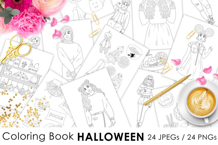 Coloring Book HALLOWEEN, Autumn fashion illustration 24 JPEG