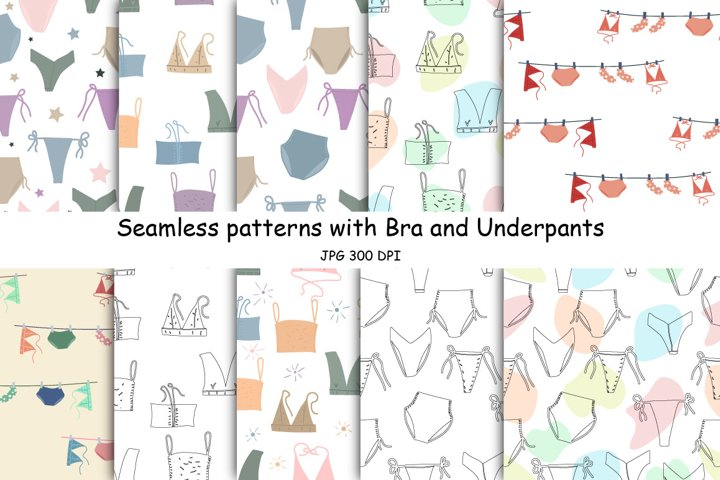 Digital paper with bra and underpants seamless pattern