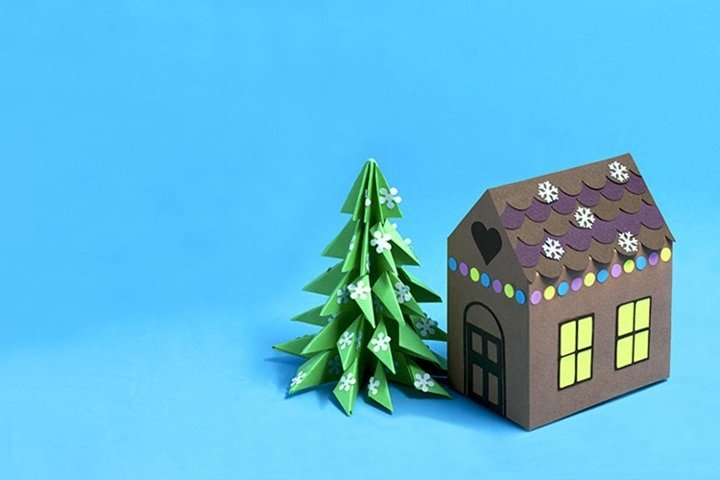 Paper gingerbread house and Christmas tree