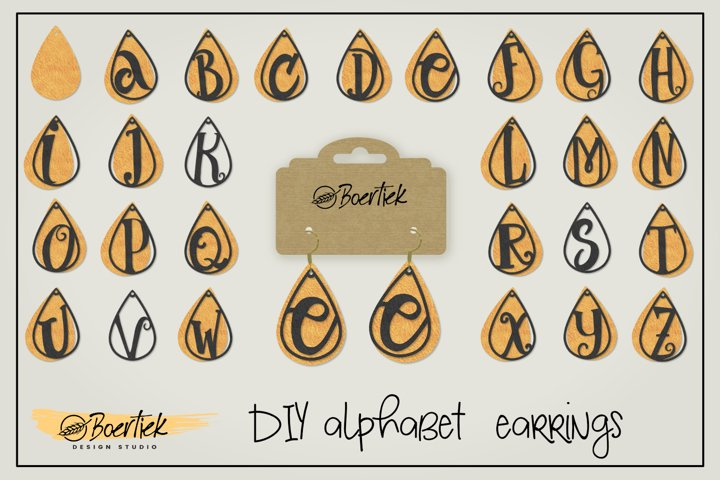 Faux leather earrings alphabet template, SVG cutting file