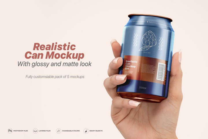 Realistic Can Mockup Set