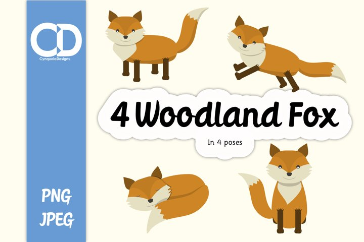 4 Woodland Fox in different poses