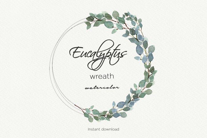 Eucalyptus watercolor wreath, Eucalyptus garland, Greenery