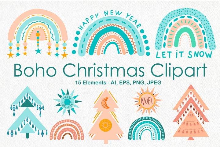 Modern Boho Christmas Clipart With Rainbows & Trees