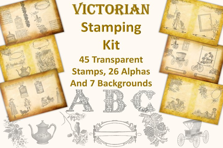 Victorian Digital stamping Kit with Alphas and backgrounds