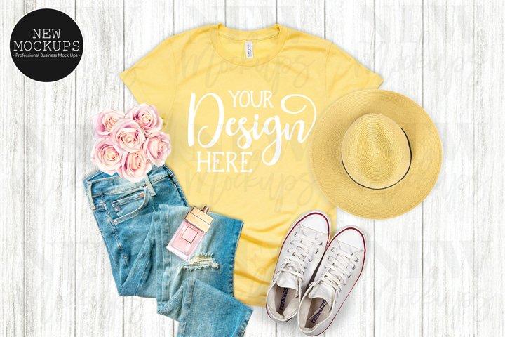 Bella Canvas 3001 Heather Yellow T-Shirt Mockup