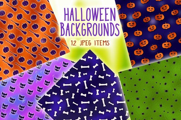 Halloween Backgrounds - 12 digital papers
