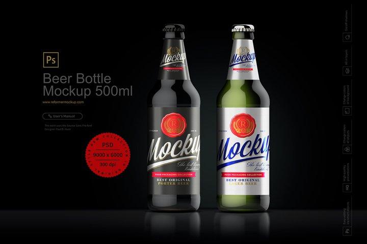 Beer Bottle Mockup 500ml
