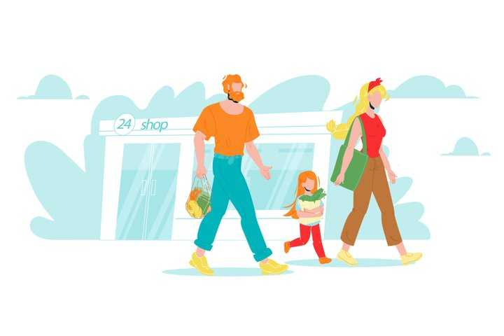 Family With Groceries In Zero Waste Bag Vector