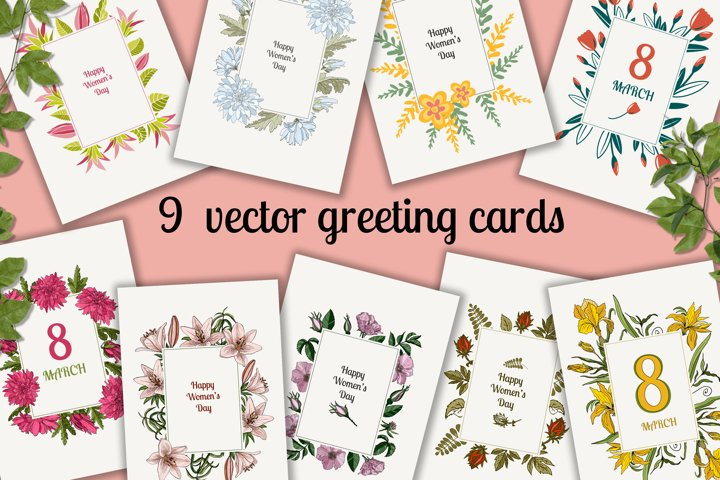 International Womens Day greeting cards, 8 March.