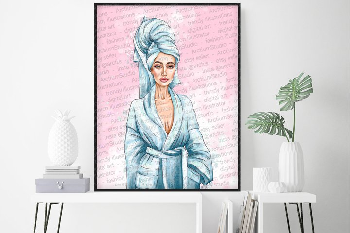 Beauty salon poster, spa salon wall decor, woman in robe