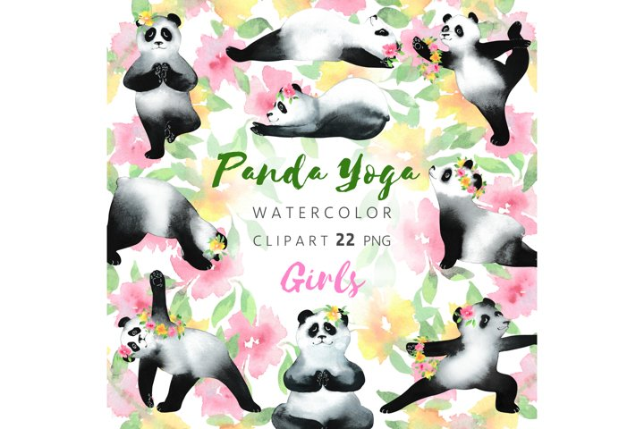 Panda Watercolor Clip Art,Funny Yoga,Bear Clipart,PNG Bundle