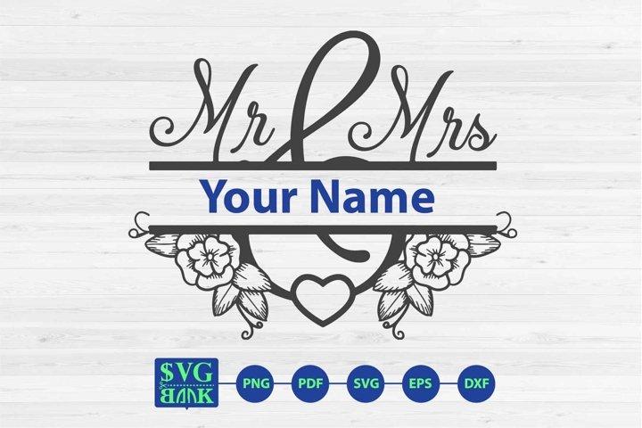 Mr Mrs split monogram svg, wedding name svg, Mr Mrs svg dxf