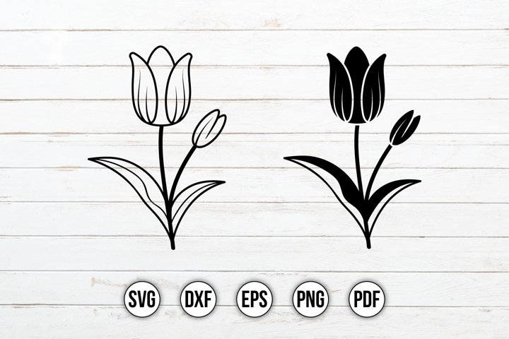 Flower SVG File - Tulip SVG - Floral Clipart