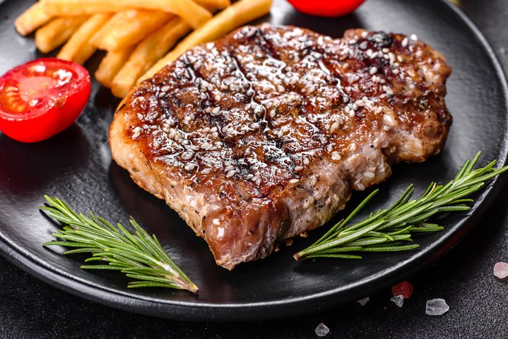 Ribeye steak with potatoes. 5 photos