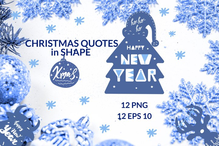 Christmas quotes in shape of holiday items