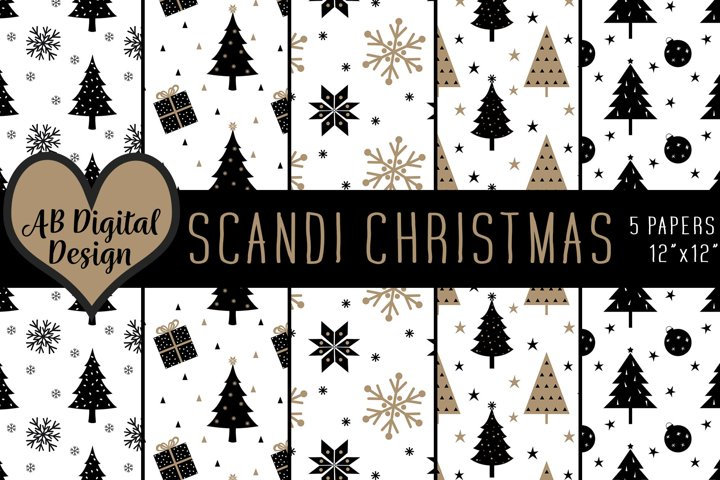 Christmas Digital Paper Background, Scandinavian Christmas