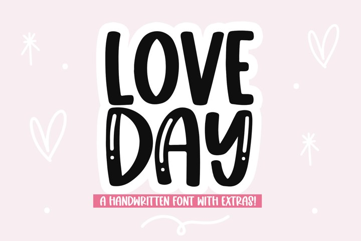 Love Day - Cute Handwritten Font with Valentine Doodles!
