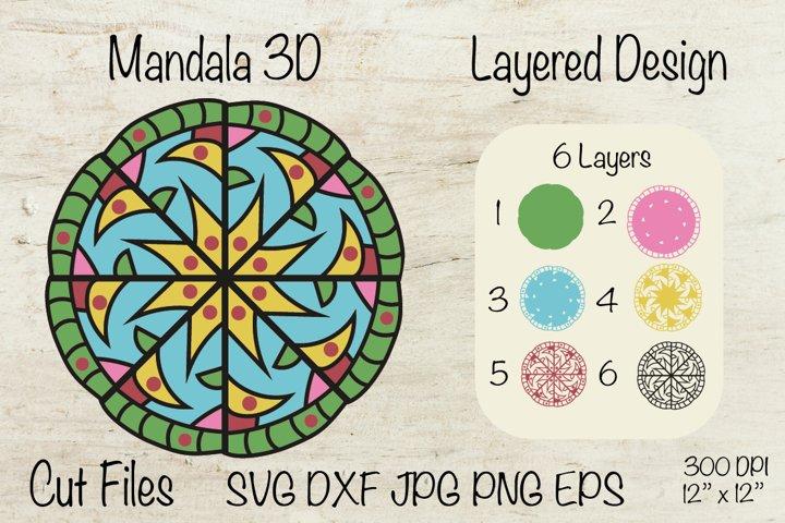 Mandala 3D. Mandala SVG Layered Design.