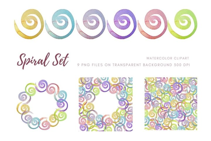 Hand drawn clipart. Isolated individual spiral elements