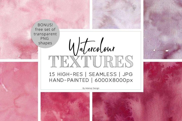 15 Huge Seamless Pink & Grey Watercolor Textures