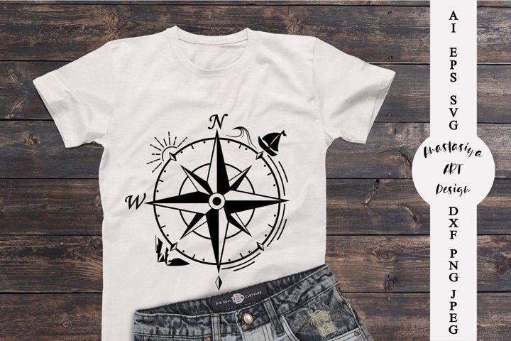 Compass silhouette svg, Adventure logo svg, Travel dxf