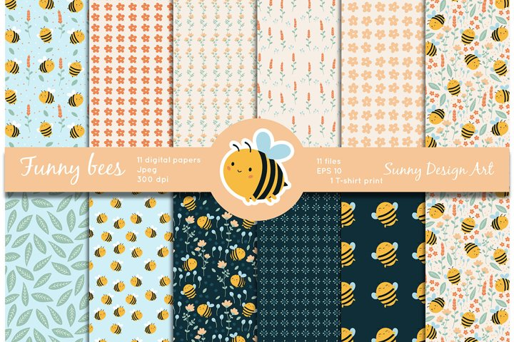 Funny kawaii bees patterns and floral digital papers
