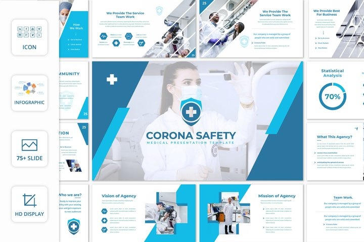 Corona Safety 90 Unique Slides - PowerPoint Template