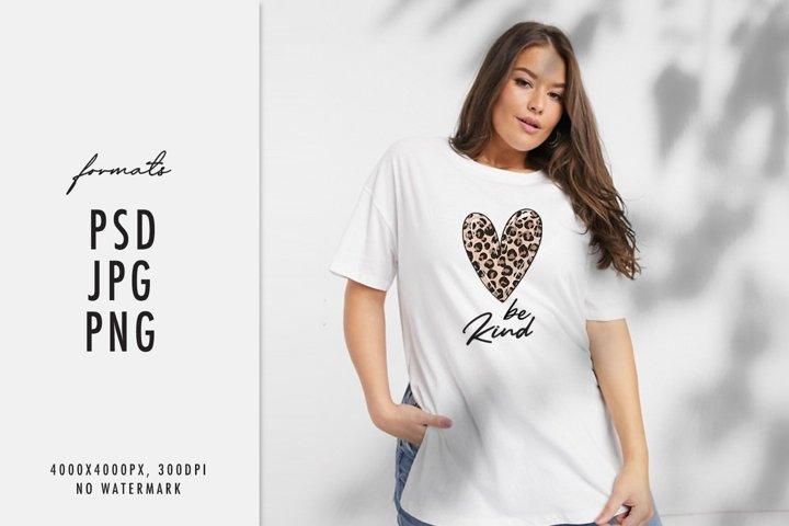 Heart Be kind sublimation t-shirt Cheetah leopard print