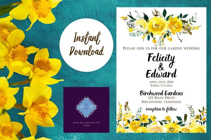 Yellow Watercolor Garden Wedding Invitation