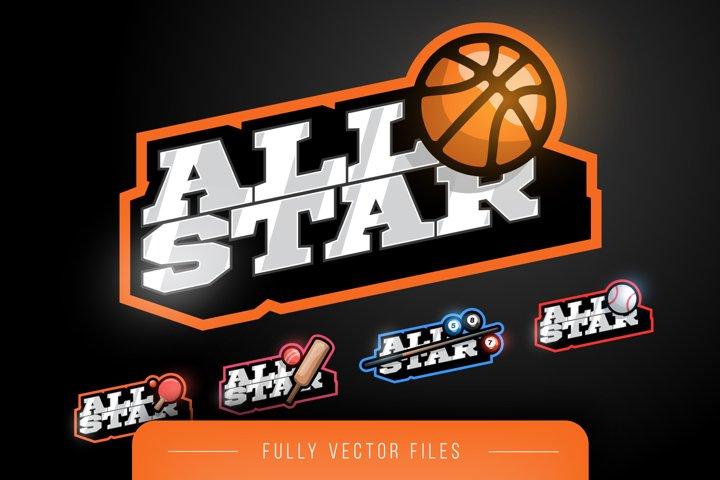 All Star Sport Emblem Logo Set