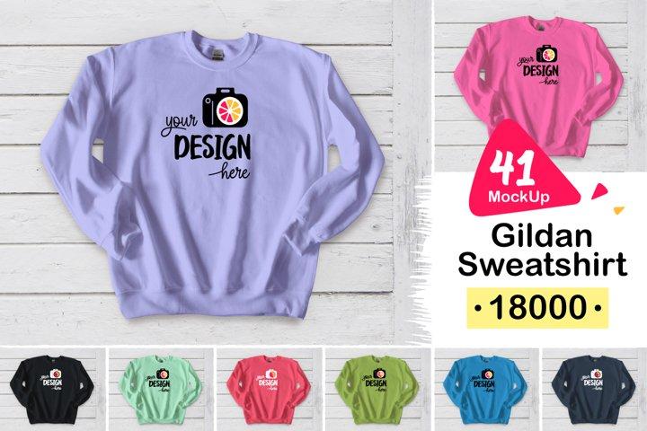 Gildan Sweatshirt 18000 white wood 003 MONO