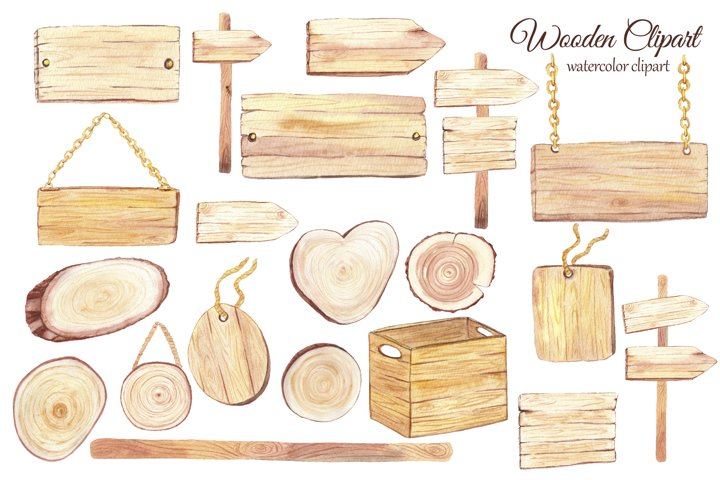 Watercolor wood slice clipart, Wooden rustic elements example 2