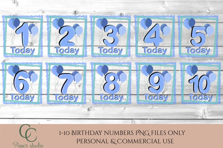 Sublimation design bundle - Birthday numbers - Blue