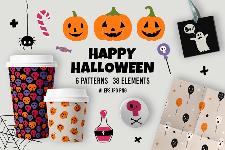 Halloween set. Seamless vector patterns and 38 elements.