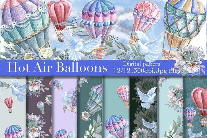 Seamless Watercolor Paper Hot Air Balloons