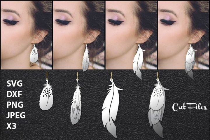 Leather earring svg, feather earring svg
