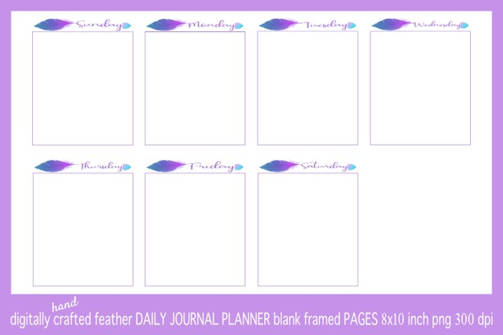 Abstract Blue & Purple Feather Daily Journal Planner Framed