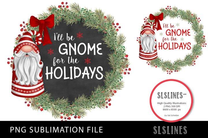 Christmas Gnomes Wreath Set PNG sublimation