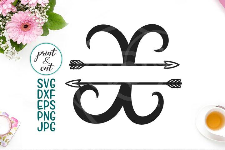 Monogram letter X svg dxf cut file, split font with arrows