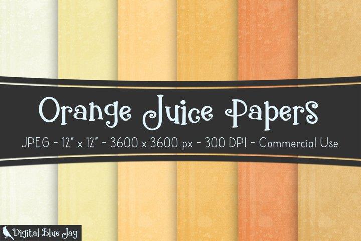 Digital Scrapbook Paper Backgrounds - Orange Juice