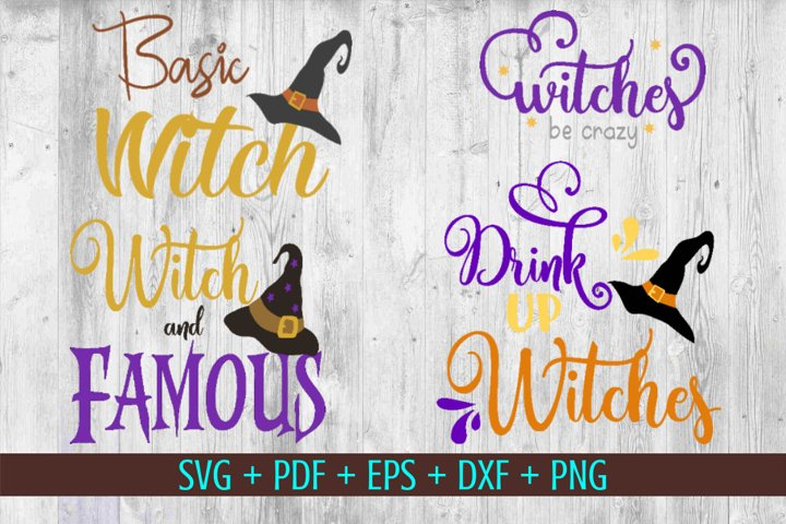 Witch SVG Bundle of 4, Witch hat svg