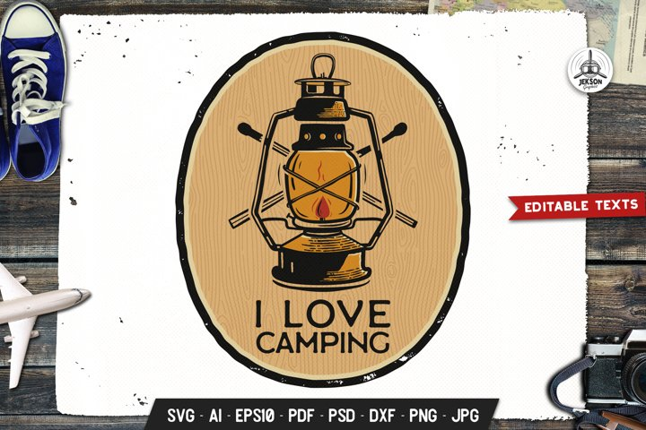 I Love Camp Logo Adventure, Wild Retro Print Shirt SVG File