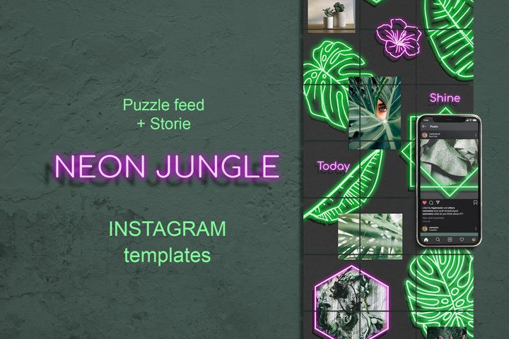 Neon Jungle Puzzle Instagram Template. Stories and Posts