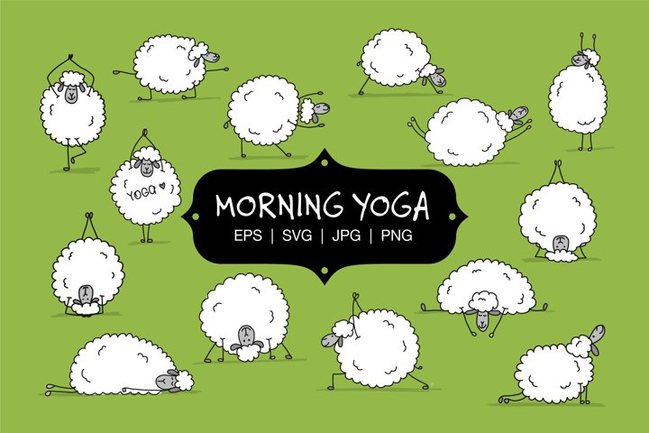 Morning yoga with funny sheeps. Vector characters.