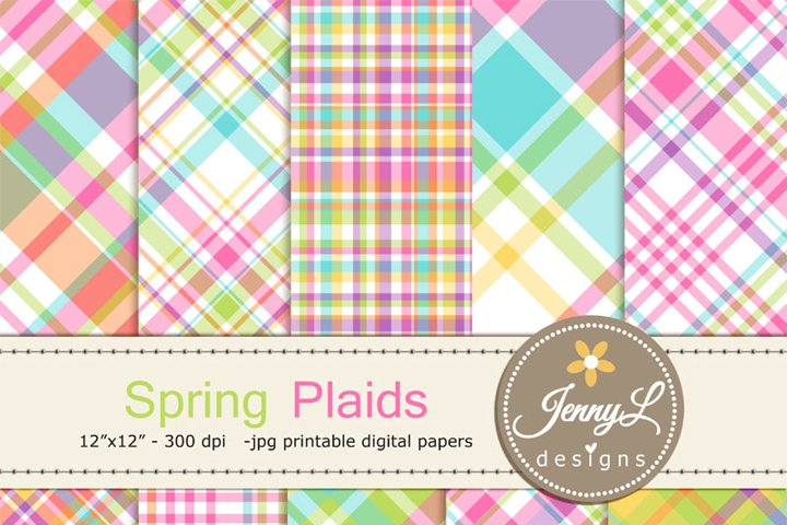 Spring Plaid Digital Papers