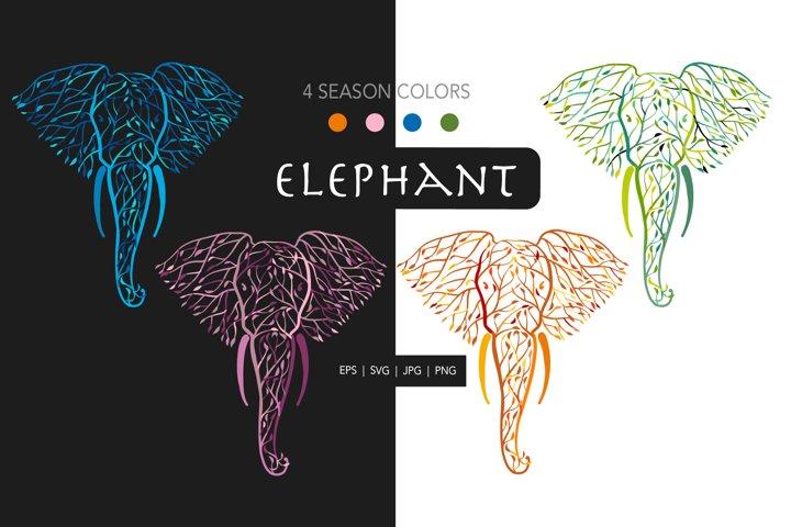 Elephant Head Design. Leaf eco concept. Four Season colors.