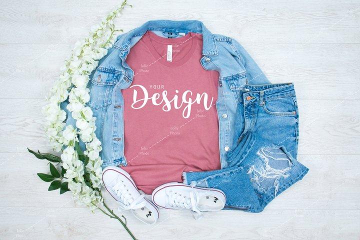 Bella Canvas 3001 Mauve T-shirt Mockup for Summer